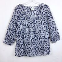 Roxy Size XL Peasant Blouse Top Front Gather 3/4 Sleeve Navy Blue Sand Dollar