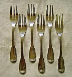 Wilkens Augsburger Faden 6 Kuchengabeln 800er Silber