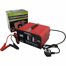 10AMP 12V/24V HEAVY DUTY BATTERY CHARGER ELECTRICAL CAR VEHICLE VAN TRUCK LORRY
