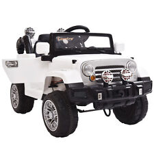 12V MP3 RC Battery Power Wheels Jeep Car Truck Kids Ride On W/ LED Lights White