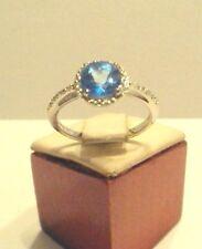 Vintage Rare Designer Cid 10k White gold Blue Topaz and Diamond Ring,Mint # 843