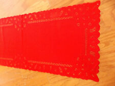 HERITAGE LACE CHRISTMAS RED BATTENBURG TABLE RUNNER 68WX14L ITEM 4076