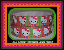 1 INCH HELLO KITTY HAPPY BIRTHDAY NEON STRIPE GROSGRAIN RIBBON - 1 YARD