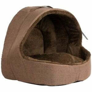 Soft Fleece Cat Small Dog Igloo Bed - Brown Pet Cave