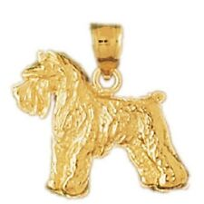 14k Yellow Gold TERRIER DOG Pendant / Charm, Made in USA