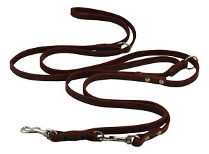 """Genuine Leather Dog Leash 6-Way Euro Lead 49"""" up to 94"""" long 3/8"""" Wide Small"""