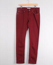 Topshop Moto Baxter Dark Red Stretch Skinny Jeans W32 L32 Size 14