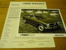 RENAULT 16 TS & TX PRESS RELEASE & PHOTO  Brochure Related jm