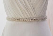 Bridal Wedding Dress Beaded Pearl Applique Sash Belt Ribbon Party Accessories