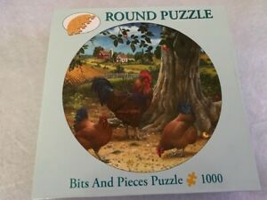 FREE SHIP NO MISSING PIECES 1000 piece round jigsaw puzzle Roosters and Hens