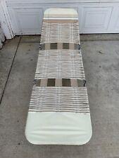 Vintage Folding Lawn Lounge Chair Beach Deck Pool Vinyl Tube Plastic Aluminum