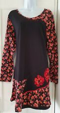 Womens Joe Browns Black Red Floral Ditsy Stretch Jersey Tunic Top 20 New.