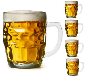 19 Ounce Dimple Stein Beer Mugs Set Drinking Mug Glass Kitchen Dining Bar 4 Pack