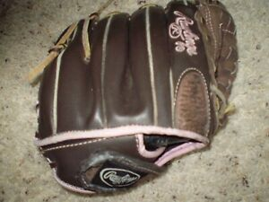 "RAWLINGS 11"" RHT FASTPITCH SOFTBALL GLOVE FP11T LEATHER BROWN/PINK"
