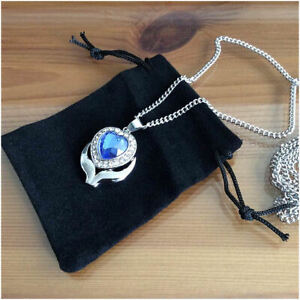 Crystal Blue Heart Stainless Steel Cremation Jewellery Ashes Urn Necklace
