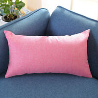 Rectangle Solid Color Cotton Linen Pillow Cases Cushion Cover Throw Home Decor