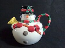 Omnibus Snowman Teapot 42 oz Fitz and Floyd 1996 Christmas Scarf Holly