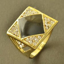 Cool 9K Yellow Gold Filled CZ Enamel Mens Ring Square Band Ring Size 10