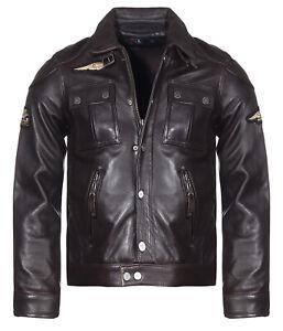 American Motor Cycle Company Lederjacke Herren Leder Jacke Braun Gr. L 50/52