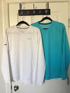 NIKE MILER SIZE L LOT OF 2 DRI-FIT L/S  RUNNING SHIRTS AQUA AND WHITE MUST SEE!