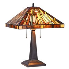 """Table Lamp Mission Design Stained Glass Tiffany Style Shade 16""""W"""