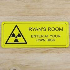 Personalised Children's Biohazard Door Sign Bedroom Plaque - Kids Door Sign