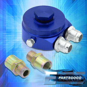 Oil Filter Relocation Kit / Oil Filter Cooler Sandwich Plate Adapter Blue