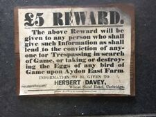 Vintage Advertising Sign Reward for Trespassing & Poaching Northumberland board