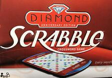 Scrabble Diamond Anniversary Edition Crossword Game Rotating Board Folding Case