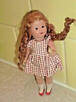 """Vintage Italy CELLULOID Redhead Girl DOLL Original clothes 5.5"""" Strung (M9 20)"""
