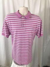 Polo Ralph Lauren men's pink white stripe cotton pique golf shirt Large L