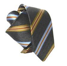 CRAVATTA GRIGIA tie Cravatte REPS JAQUARD RIGHE TABACCO CELESTE AZZURRO CRAVATTE