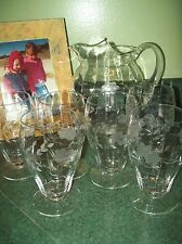 Vintage Etched 80 oz Etche Pitcher & Six 12oz footed Glasses Tumblers