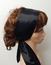 Black satin head scarf tie back headband self tie hair scarf silky retro bandana