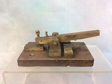 ANTIQUE MORSE CODE TELEGRAPH KEY ON WOODEN BASE, FREE UK DELIVERY
