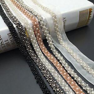 Pearl Beaded Trim Lace Ribbon DIY Crafts Wedding Dress Sewing Decor UK