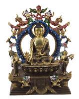 Soprammobile Tibetano Budda Medicina Dhyani Rame E Foglie D Oro Nepal 5248