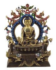 Statue tibétaine Bouddha Médecine Dhyani cuivre et feuille d or Nepal 5248