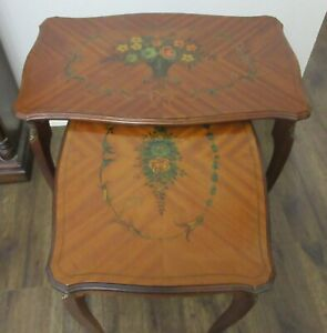 RARE ANTIQUE COUNTRY FRENCH SET OF 3 WOOD END TABLES,ITALY,ITALIAN COTTAGE,PAINT