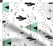 Black White Mint Kids Large Vertical Nursery Spoonflower Fabric by the Yard