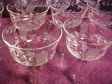 Vintage*Set of 10*Crystal Sherry/Liquore/Alcohol/Drink Glasses*Bevel w/Etchings