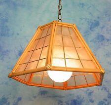 ReTrO VtG TiKi BAR COASTAL BAMBOO & CAPiZ SHELL SWAG HANGiNG PENDANT LiGHT LAMP