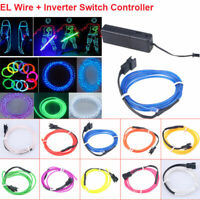 LED EL Wire Neon Glow Rope Tube Strip Chasing Light Car String Lamp + Controller