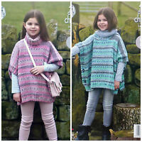 KNITTING PATTERN Girls Easy Knit Polo or Round Neck Poncho Chunky King Cole 4602