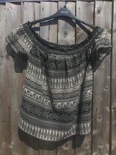 Lovely, Ladies Black Mix Pattern Gypsy Style Top 14 Primark Atmosphere Bargain