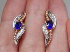 Russian 14k Rose Pink White Gold Sapphire Created Diamond Earrings 585 6.5 gr