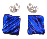 "DICHROIC GLASS Earrings BLUE Cobalt Navy Ripple Striped Textured Post 1/4"" 8mm"
