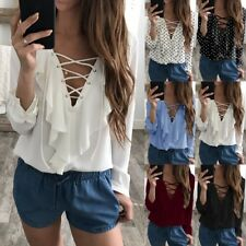 UK Plus Size Womens Casual Long Sleeve Top Chiffon T-Shirt Lace UP V Neck Blouse