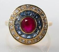 LUSH 9K 8CT GOLD ART DECO INS INDIAN RUBY, Sri Lankan BLUE SAPPHIRE DIAMOND RING