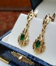 Vtg Fine Estate 18K Yellow Gold Green Emerald Drop Dangle English Lock Earrings
